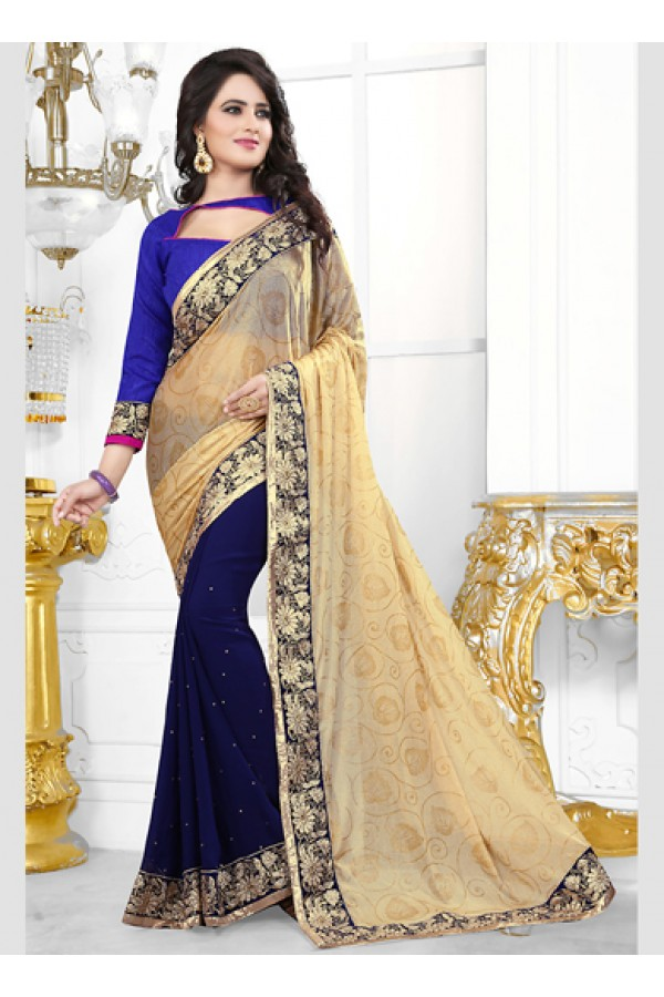 Party Wear Beige & Blue Saree  - 70685