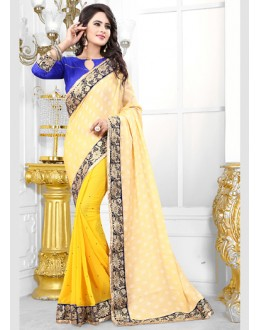 Party Wear Yellow Georgette Saree  - 70686