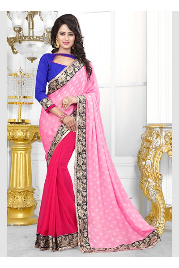 Party Wear Pink Georgette Saree  - 70687