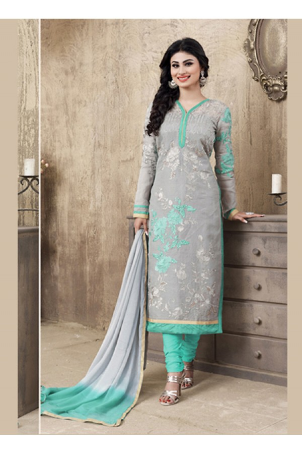 Eid Special Grey Cotton Salwar Suit -  70693