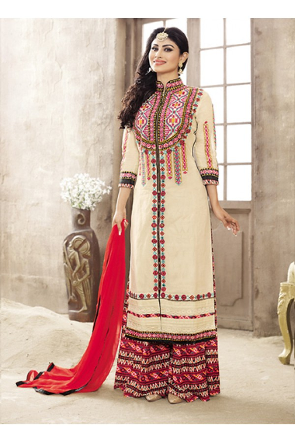 Eid Special Brown Cotton Palazzo Suit -  70697