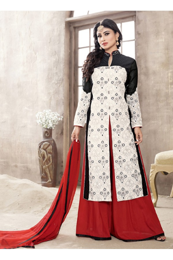 Eid Special Off White Cotton Palazzo Suit -  70698