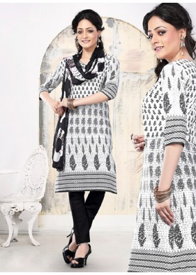Casual Wear White Cotton Salwar Suit - 70768