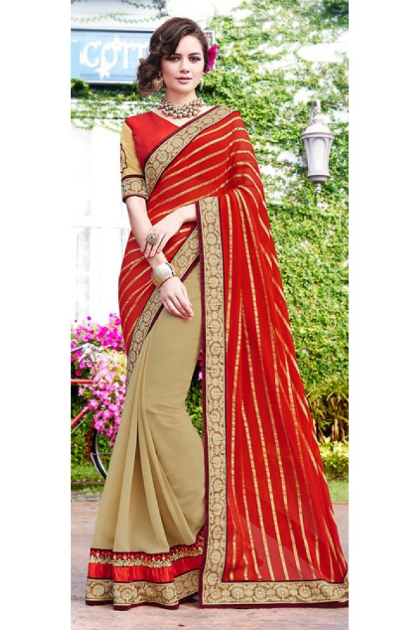 Party Wear Tan Brown & Red Saree  - 70855