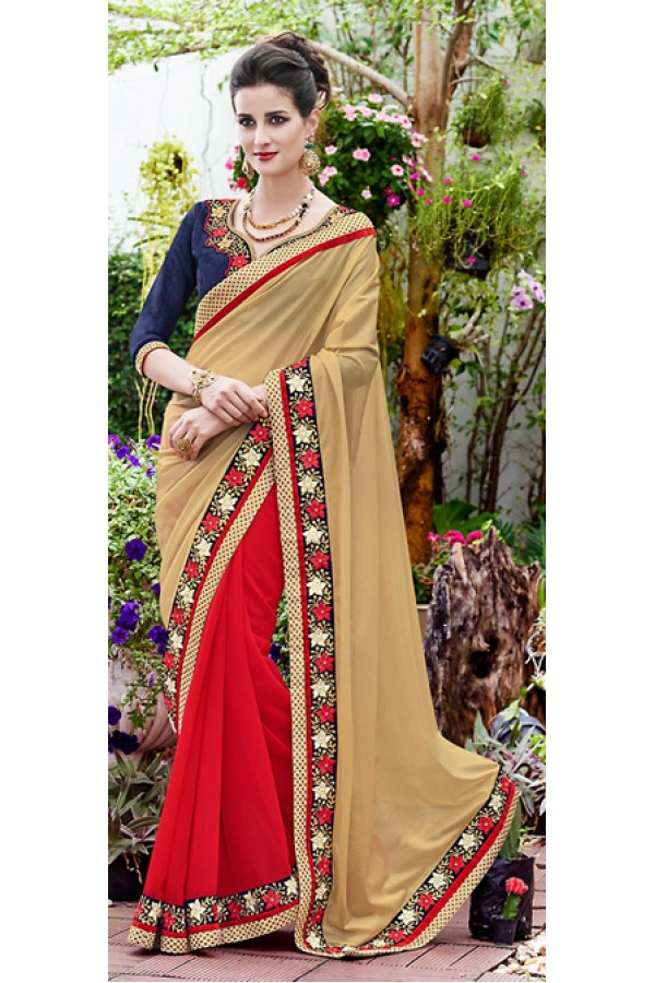 Party Wear Red & Beige Saree  - 70870