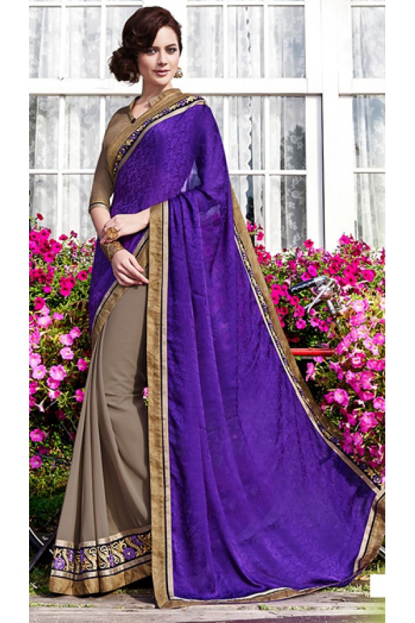 Party Wear Purple & Grey Saree  - 70871