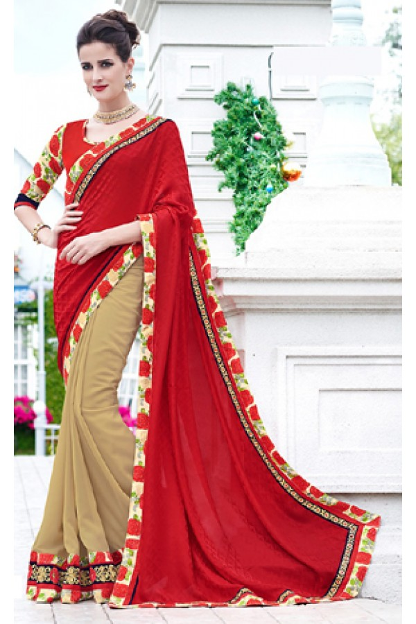 Party Wear Beige & Red Saree  - 70874