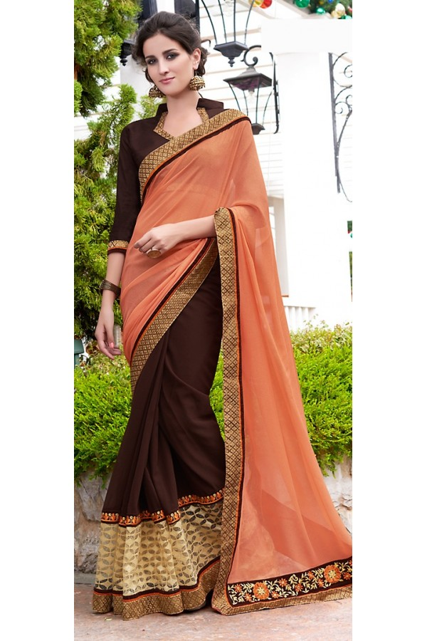Party Wear Peach & Brown Saree  - 70875