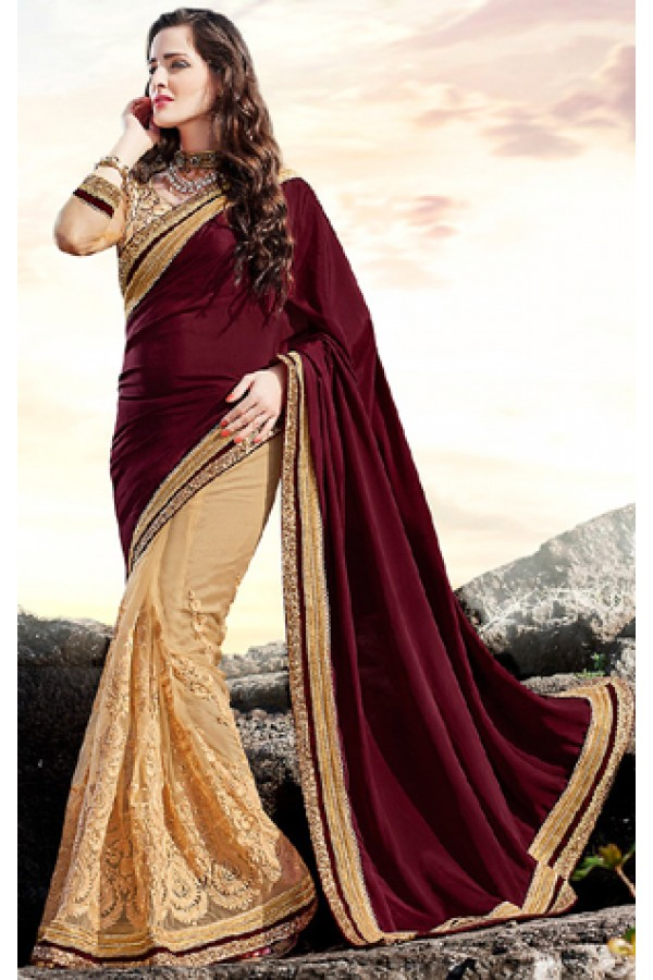Party Wear Maroon & Brown Net Saree  - 70877
