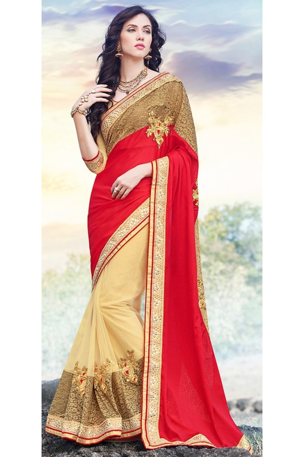 Party Wear Multicolour Net Saree  - 70880