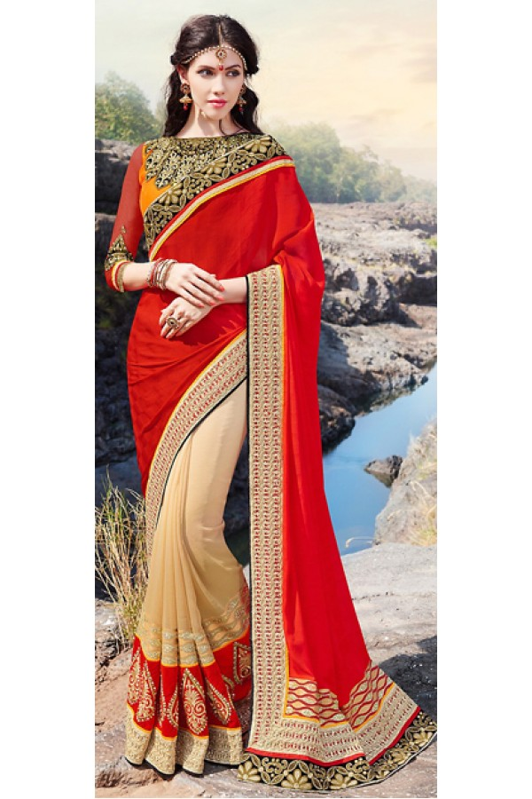 Party Wear Multicolour Chiffon Saree  - 70885