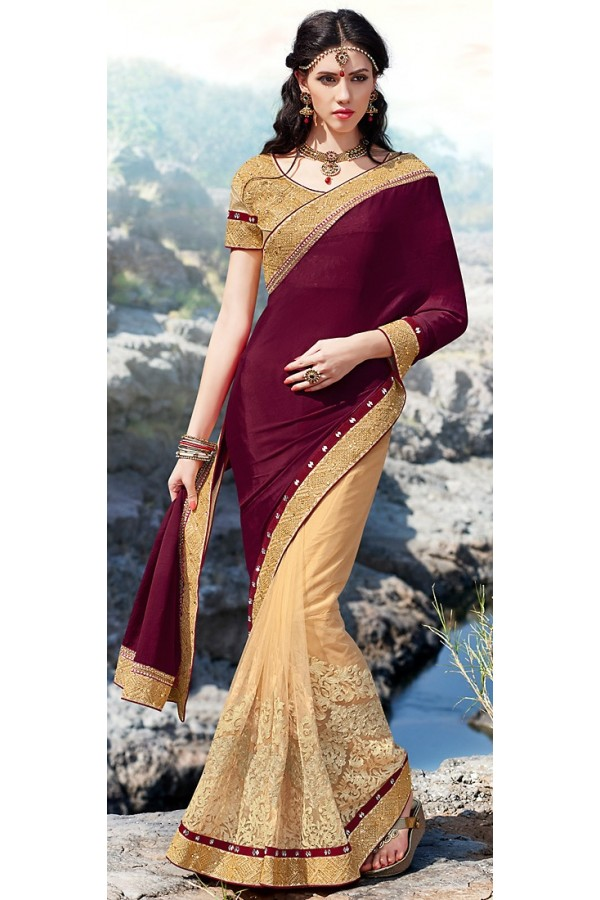 Party Wear Multicolour Net Saree  - 70887