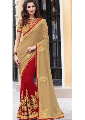 Traditional Brown & Red Georgette Saree - 70958