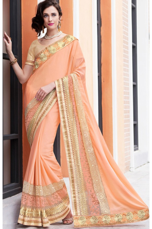 Traditional Pink & Brown Chiffon Saree - 70962