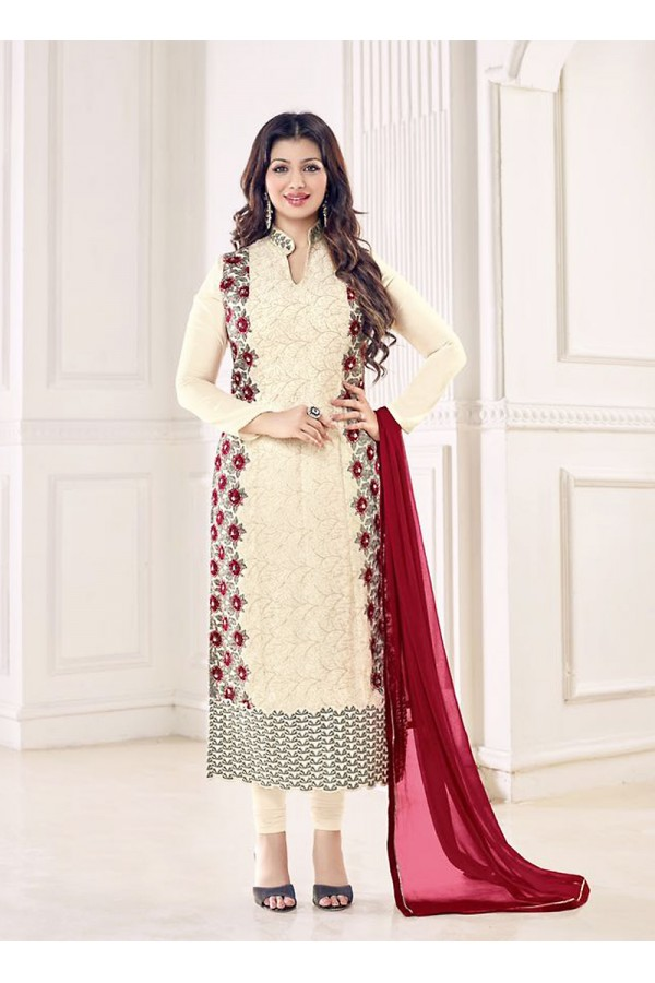 Party Wear Cream Georgette Salwar Suit - 70995