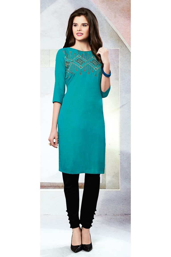Readymad Aqua Blue Cotton Straight Kurti - 71120