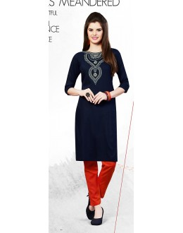 Readymad Navy Blue Cotton Straight Kurti - 71122