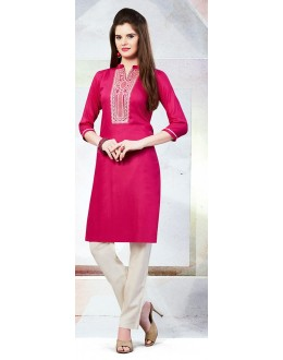 Readymad Violet Cotton Straight Kurti - 71123