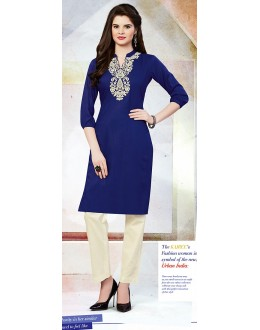 Readymad Blue Cotton Straight Kurti - 71124