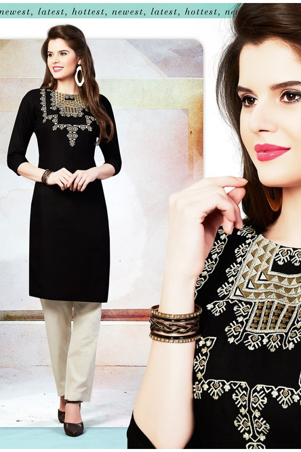 Readymad Black Cotton Straight Kurti - 71127
