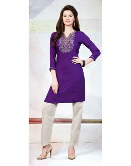Readymad Purple Cotton Straight Kurti - 71129