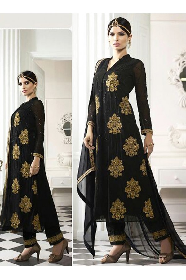 Party Wear Black Georgette Salwar Suit - 71219