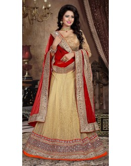 Designer Style Brown & Red Lehenga Choli - 71234