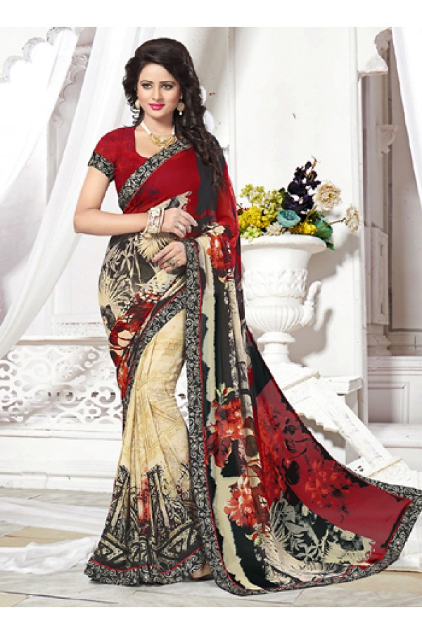 Party Wear Multicolour Georgette Saree  - 71256