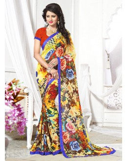 Casual Wear Multicolour Georgette Saree  - 71259