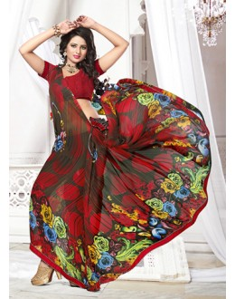 Casual Wear Multicolour Georgette Saree  - 71260