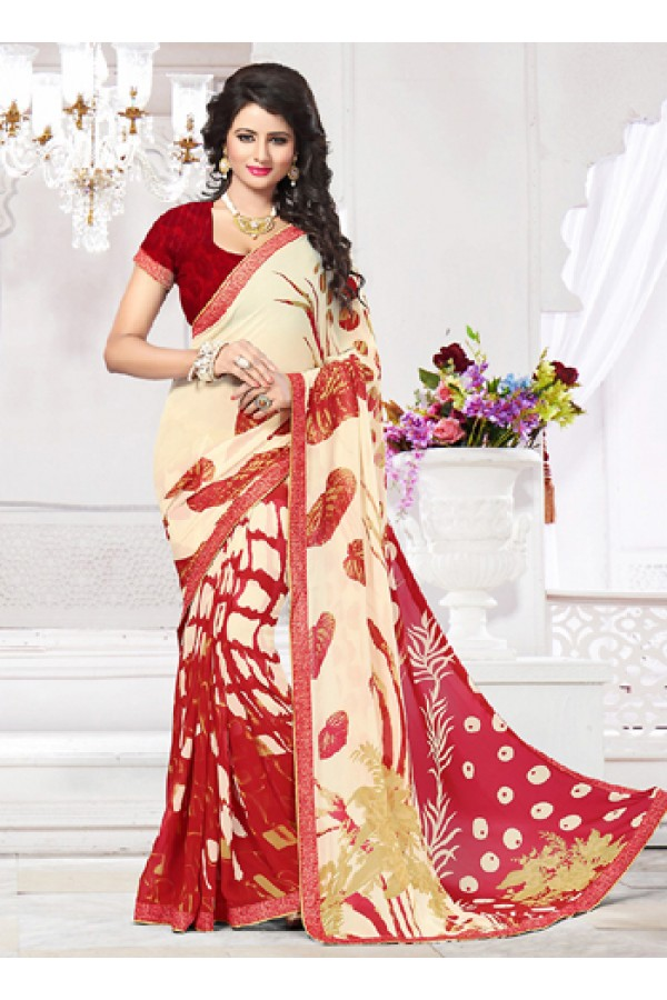 Party Wear Beige & Red Georgette Saree  - 71265