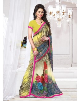 Casual Wear Multicolour Georgette Saree  - 71266