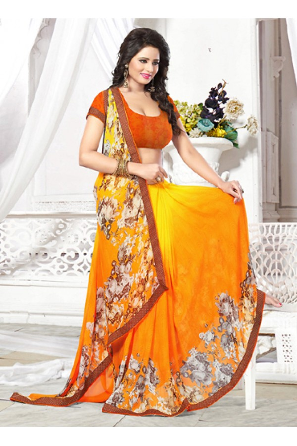 Party Wear Yellow & Orange Georgette Saree  - 71270