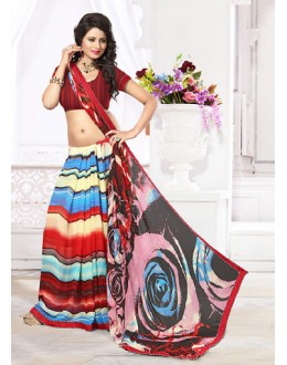 Casual Wear Multicolour Georgette Saree  - 71271