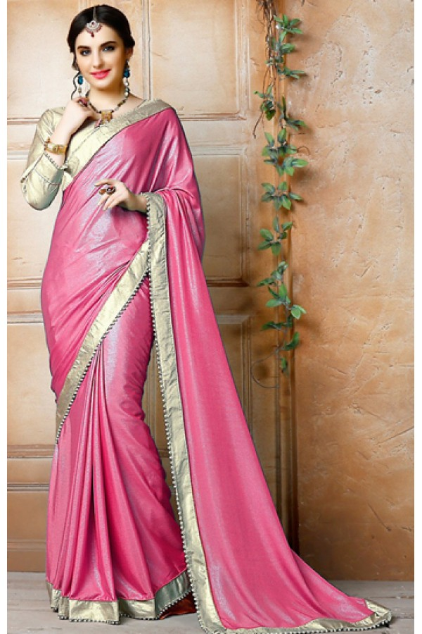 Traditional Pink & Gold Georgette Saree - 71837