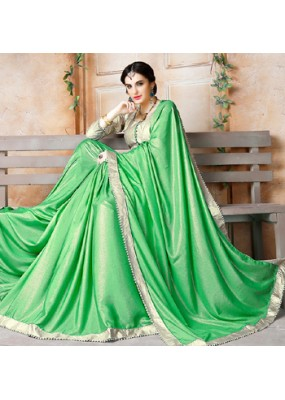 Traditional Green & Gold Georgette Saree - 71838