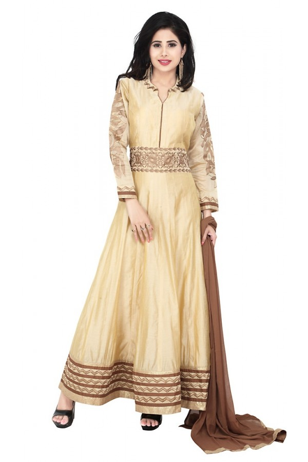 Party Wear Beige Readymade Anarkalir Suit  -  71343
