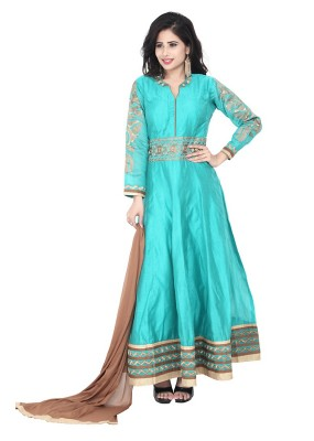 Party Wear Sea Green Readymade Anarkalir Suit  -  71344