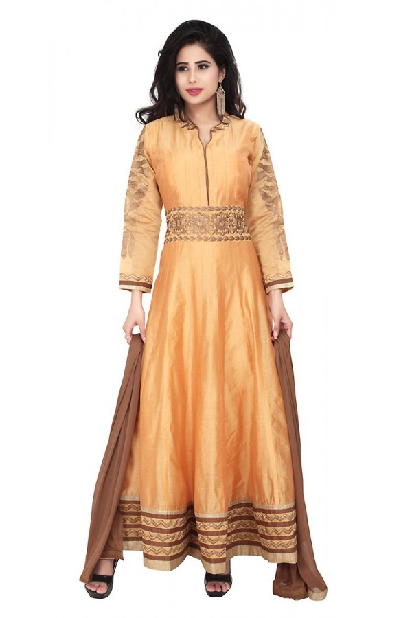 Party Wear Orange Readymade Anarkalir Suit  -  71345