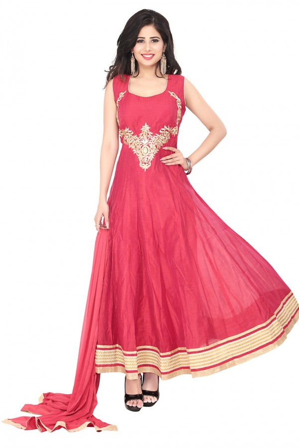 Party Wear Pink Readymade Anarkalir Suit  -  71347