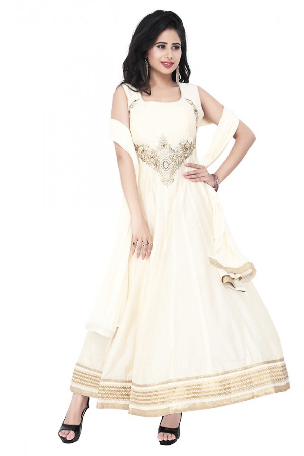 Party Wear Off White Readymade Anarkalir Suit  -  71348