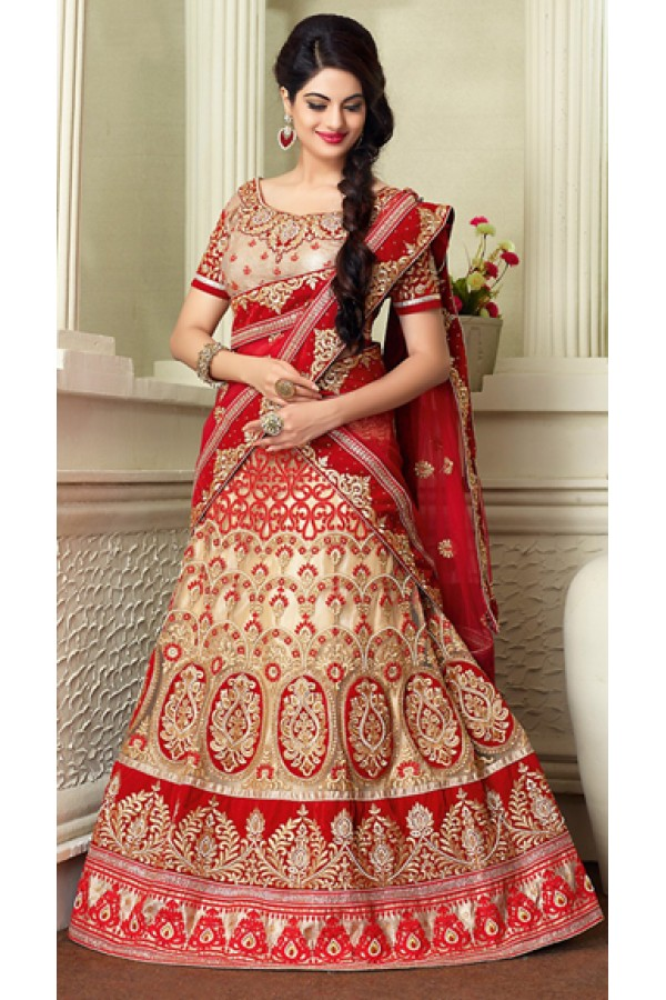 Designer Style Tan Brown & Beige Lehenga Choli - 71336