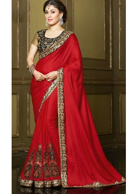 Party Wear Red & Black Georgette Saree  - 71395