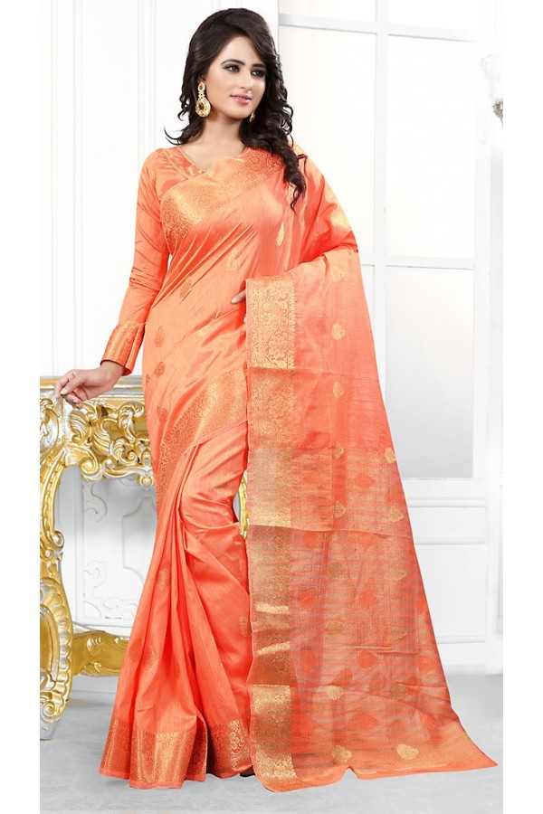 Party Wear Coral Orange Banarasi Silk Saree  - 71449