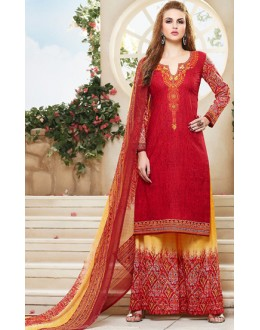 Party Wear Red & Yellow Cotton Palazzo Suit - 71471