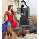 Party Wear Red & Blue Cotton Palazzo Suit - 71473