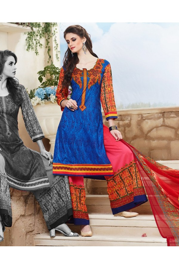 Party Wear Blue & Pink Cotton Palazzo Suit - 71474