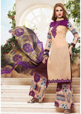 Party Wear Multicolour Cotton Palazzo Suit - 71476