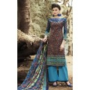 Party Wear Maroon & Sky Blue Palazzo Suit - 71508