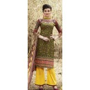 Party Wear Green & Yellow Palazzo Suit - 71509